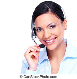 Call center operator business woman. Isolated on white background.