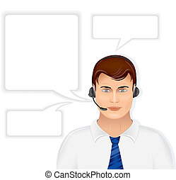 Call Center Operator - Call Center Male Operator with Set of...