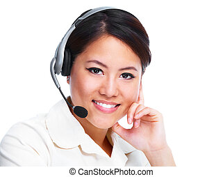 call center, operator., cinese, businesswoman.