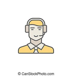 Call center operator colorful icon. Vector man in headset creati