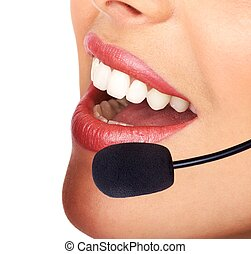CALL CENTER OPERATOR - Face of a business woman with headset...