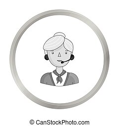 Call center operator icon in monochrome style isolated on white background. People of different profession symbol stock vector illustration.