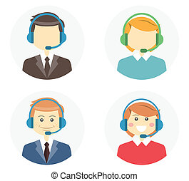Call center operator icons with a smiling friendly man and ...