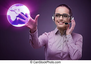 Call center operator in global business concept
