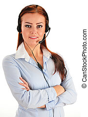 Call center operator isolated on white. Customer support. ...