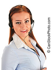 Call center operator isolated on white. Customer support