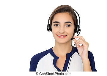 Call center operator isolated over white background. Young...