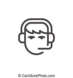 Call center operator line icon isolated on white. Vector...