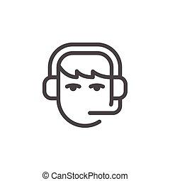 Call center operator line icon