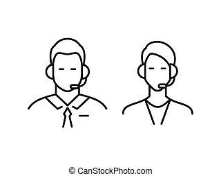 Call center operator line icons