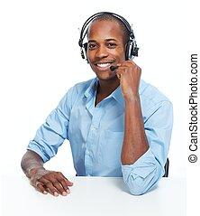 Call center operator man.
