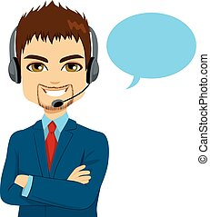 Call Center Operator Man - Portrait of happy smiling call...