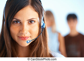 Call Center Operator - Young beautiful woman with headset...