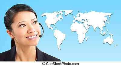 Call Center Operator - Beautiful call center operator with...