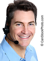 Call Center Operator - Smiling businessman with headset. ...