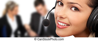 Call Center Operator - Smiling pretty business woman with ...