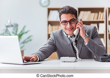 Call center operator talking on the phone