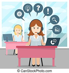 Call center operator. Help and headset, office and...