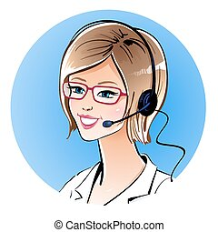 Call center operator. Vector illustration.