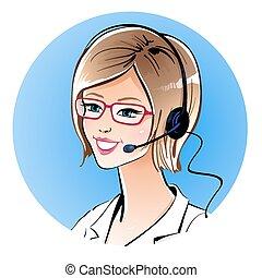 Call center operator. Vector illustration.