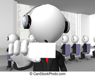 Call center operator with headphones and microphone showing a blank card