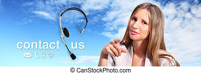 call center operator with headset and contact us text