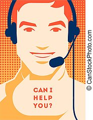 Call center operator with headset poster. Client services...