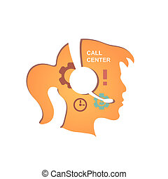 Call center operator with headset icon.  infographics