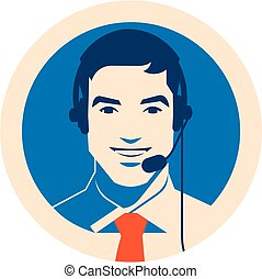 Call center operator with headset icon. Client services and...