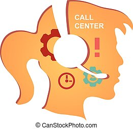 Call center operator with headset icon. Vector infographics
