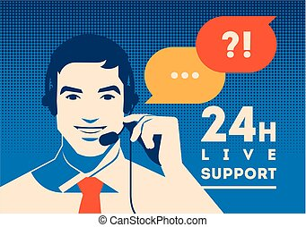 Call center operator with headset poster. Client services ...