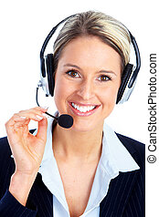 Call center operator woman with headset.
