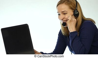 call center representative talking on helpline, Headset...