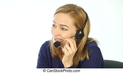 call center representative talking on helpline, Headset...