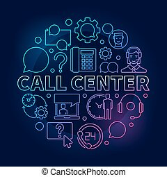Call Center round colorful illustration. Vector customer service