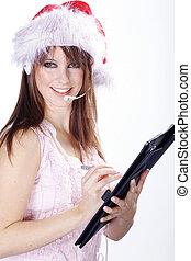 Call Center Santa woman
