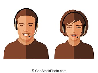 call center service, customer support, vector flat office...