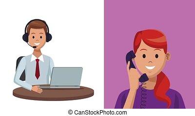 Call center service HD animation