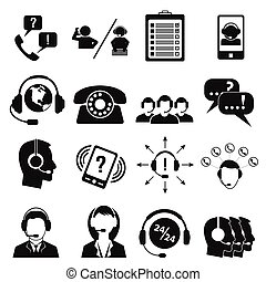 Call center service icons set - Call center service icons...