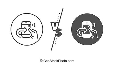 Call center service line icon. Share phone call sign. Vector