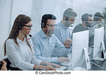 call center staff at the workplace in the office