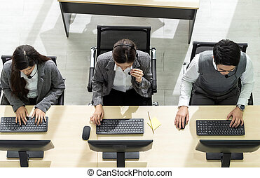 Call center team working top view