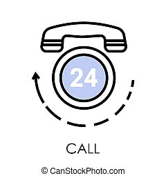 Call center, telephone isolated icon, support or feedback - ...