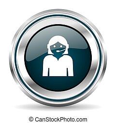 Call center vector icon. Chrome border round web button....