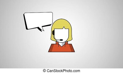 call center woman agent with speech bubble illustration...