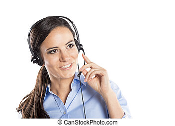 Call center woman - Beautiful call center young woman ready ...