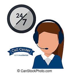 call center woman headset service 24 7