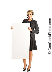 Call center woman holding empty blank
