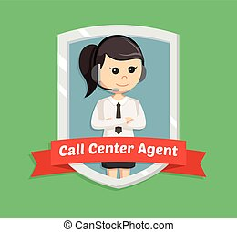 call center woman in emblem