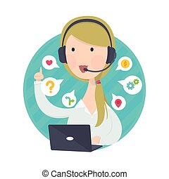 Call Center Woman in White Shirt